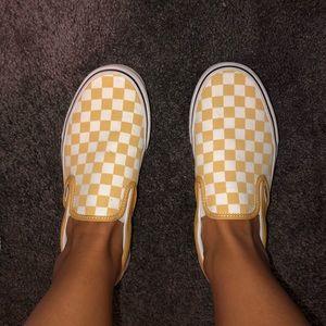 Checkered Golden Yellow Vans WOMANS 9.0